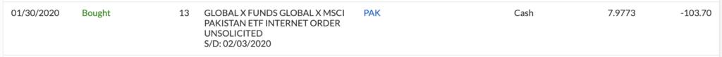 パキスタンETF購入しました