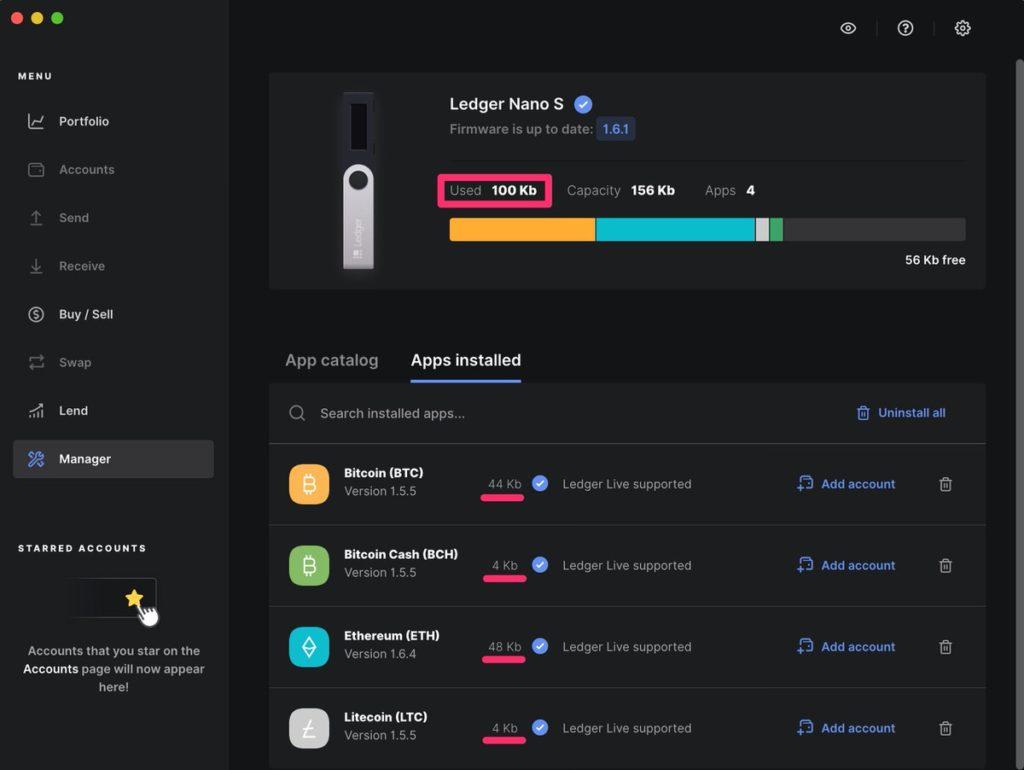 Ledger Nano S Walletアプリをインストールする
